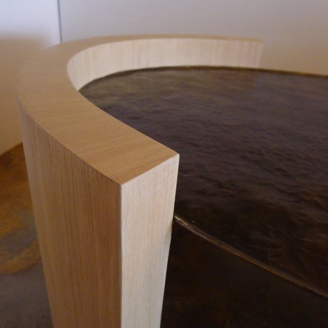 Paul Marra Oval Oak and Hand Hammered Steel Cocktail Table For Sale In Los Angeles - Image 6 of 8