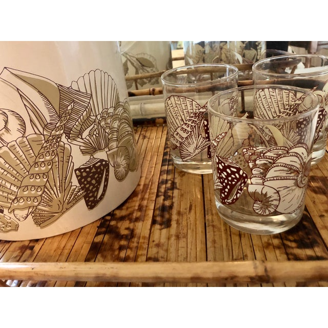 Glass Acrylic Seashell Ice Bucket & Matching Glasses - Set of 4 For Sale - Image 7 of 13