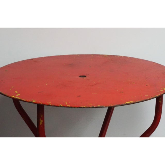 """Vintage Red French Bistro Table From South of France Perfect Outdoor Dining Table. 1 1/2"""" Hole in the middle of the top."""