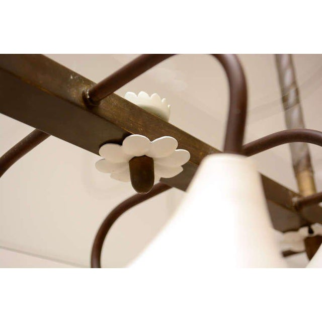 Italian Mid Century Modern Brass & Glass Italian Chandelier For Sale - Image 3 of 4