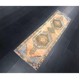 1960s Vintage Aztec Faded Antique Decorative Turkish Anatolian Wool Hallway Runner-2′6″ × 8′9″ Preview