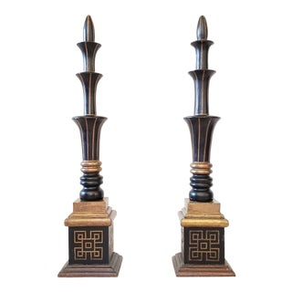 Architectural Tiered Decorative Carved Wood/Brass/Finial Obelisk on Greek Key Base Obelisks - a Pair For Sale