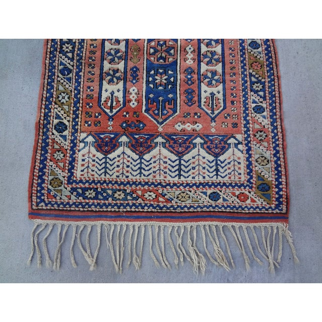 """Vintage Handwoven Peach & Blue Rug - 4'10"""" x 3'2"""" - Image 3 of 7"""