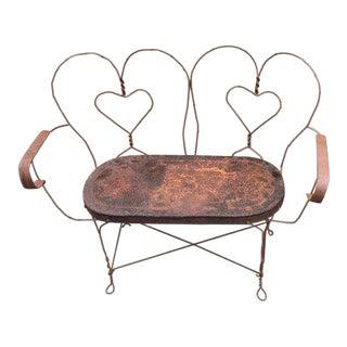 Vintage Shabby Chic Steel Hearts Garden Bench