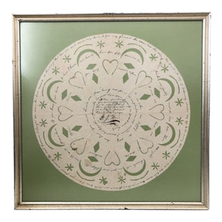 1890s Folk Art Framed Love Note on Hand-Cut Paper For Sale