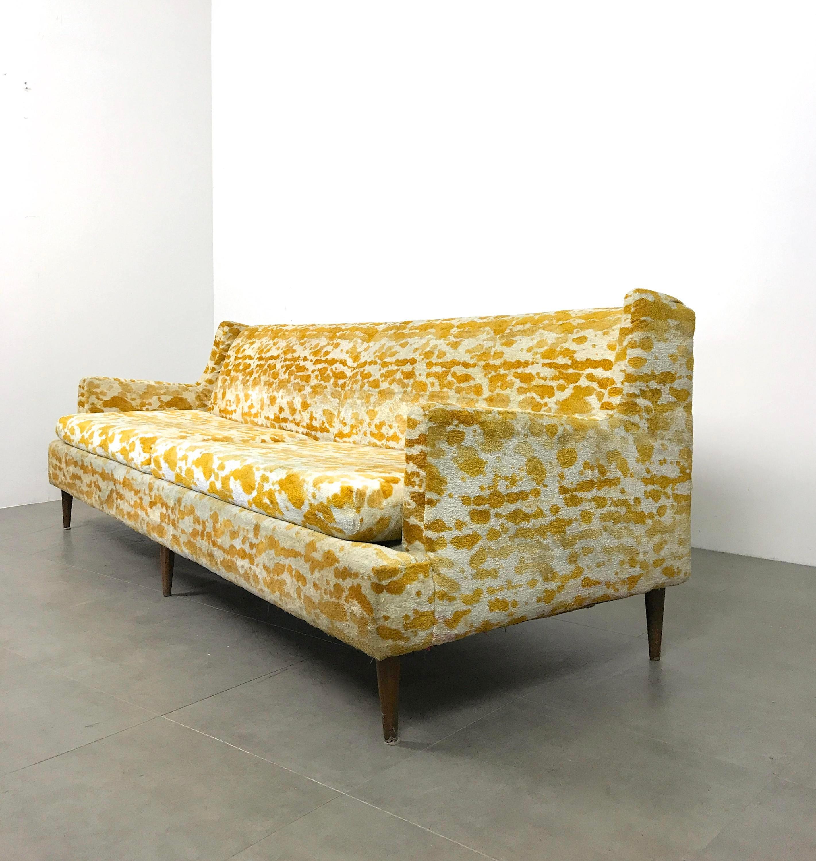 Mid Century Modern 1950s Vintage Mid Century Modern Velour Sofa For Sale    Image 3