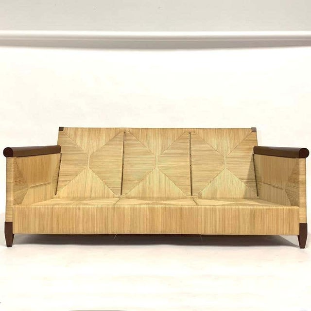 Arts & Crafts Rare and Stunning John Hutton for Donghia Mahogany and Wrapped Woven Wicker Sofa For Sale - Image 3 of 13