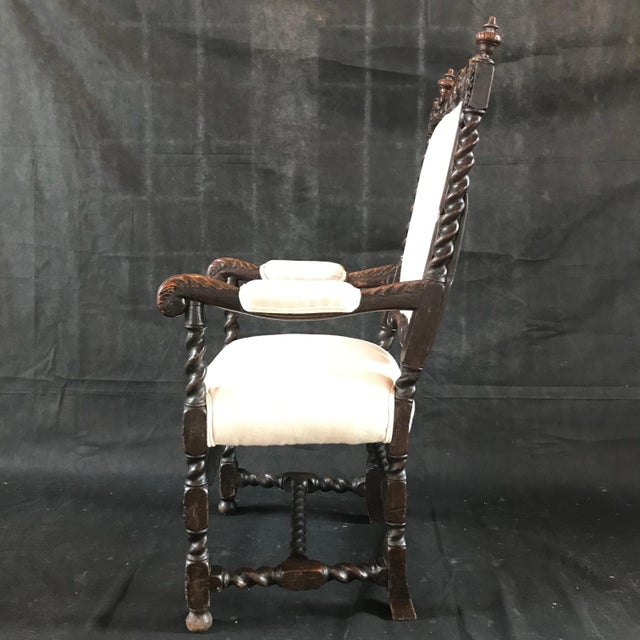 18th Century Vintage Carved Oak Jacobean Arm Chair For Sale In Portland, ME - Image 6 of 10