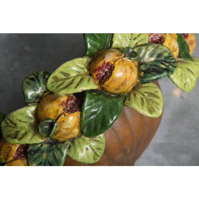 Pair of Italian Terracotta Wall Pockets with Glazed Fruit Decoration For Sale - Image 4 of 7