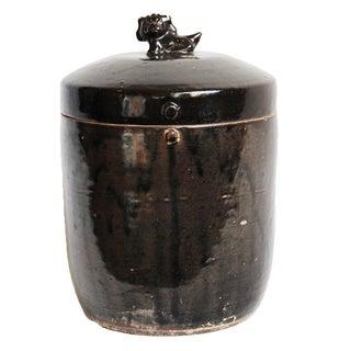 Black Ceramic Jar With Foo Dog Lid