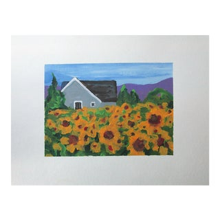 Cottage California Plein Air Landscape Sunflower Farm 5x7 Painting by Lynne French For Sale