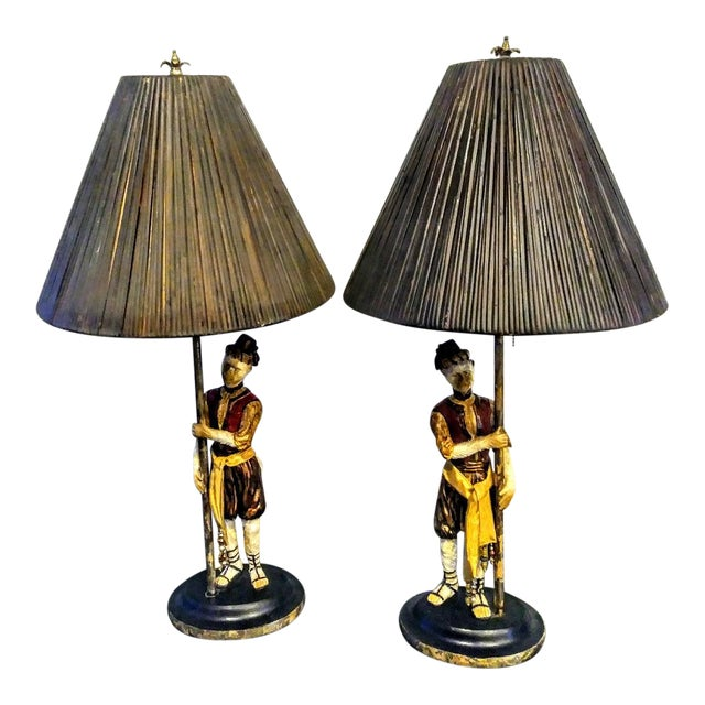 Vintage Bill Huebee Style Monkey Lamps with Rattan Parasol Shades - a Pair For Sale