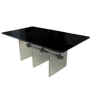 Vintage Art Deco Black Vitrolite Glass Desk For Sale