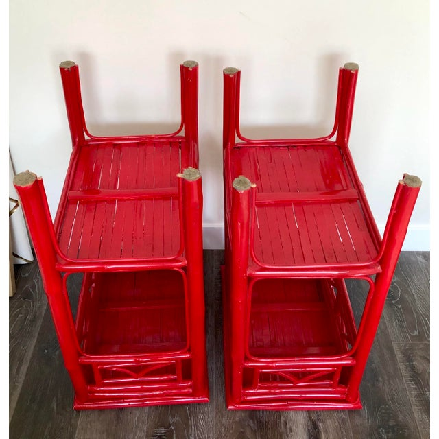 2010s Serena and Lily Red Lacquered Side Tables - a Pair For Sale - Image 5 of 9