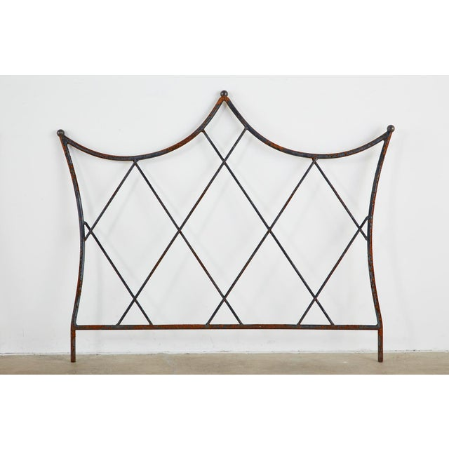 Traditional Pair of Regency Style Iron and Bronze Headboards For Sale - Image 3 of 13