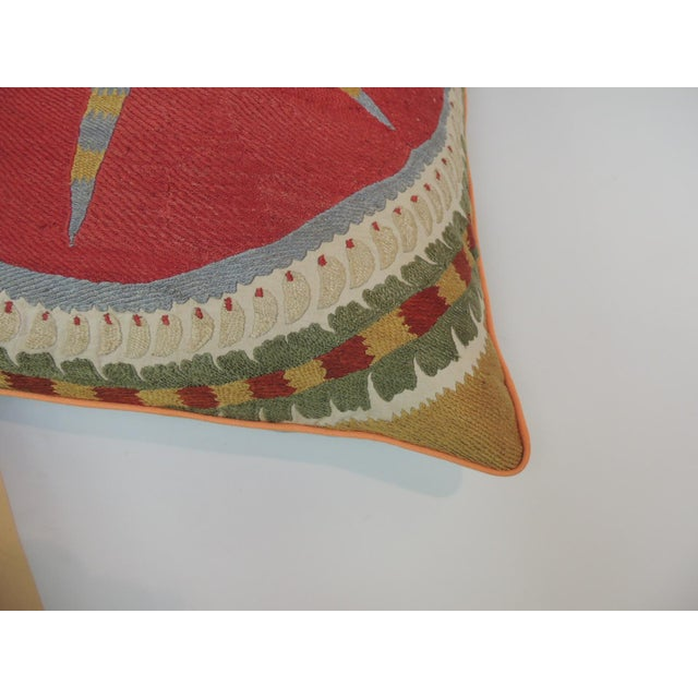 Asian Large 19th Century Embroidery Suzani Multicolor Decorative Floor Pillow For Sale - Image 3 of 5