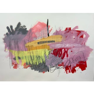 """""""Superhero"""" Contemporary Abstract Expressionist Mixed-Media Painting on Paper For Sale"""