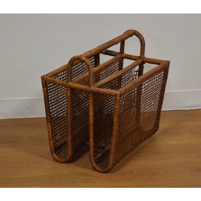 Brown Bamboo & Rattan Magazine Rack For Sale - Image 8 of 8
