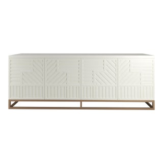 Stria Credenza - Brushed Brass Base, Cheating Heart Charcoal For Sale