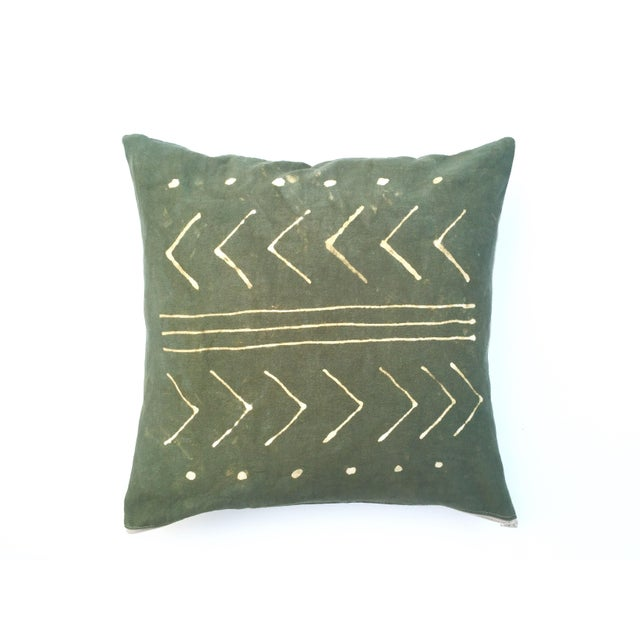 Hand-Dyed Dark Green Tribal Pillow Cover - Image 3 of 5