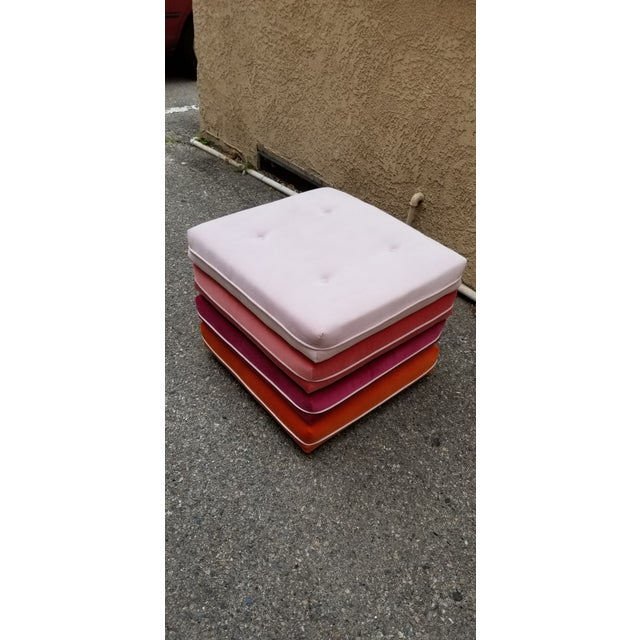 Custom made pair of cotton velvet ombré ottomans on wheels. Perfect piece for additional seating in an entertainment space!