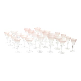 1950s Dorothy Thorpe Pink and White Frosted Cocktail Stemware - Set of 24 For Sale