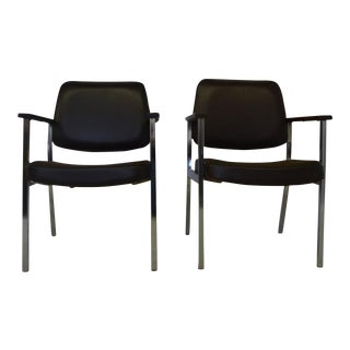 Chrome Craft Brown Arm Chairs - A Pair