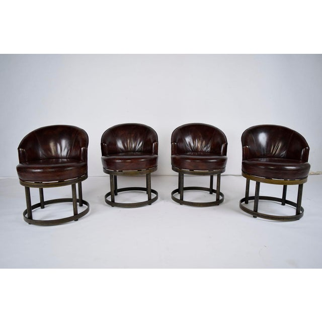 Vintage Art Deco Style Leather Accent Chairs - Set of 4 - Image 3 of 10