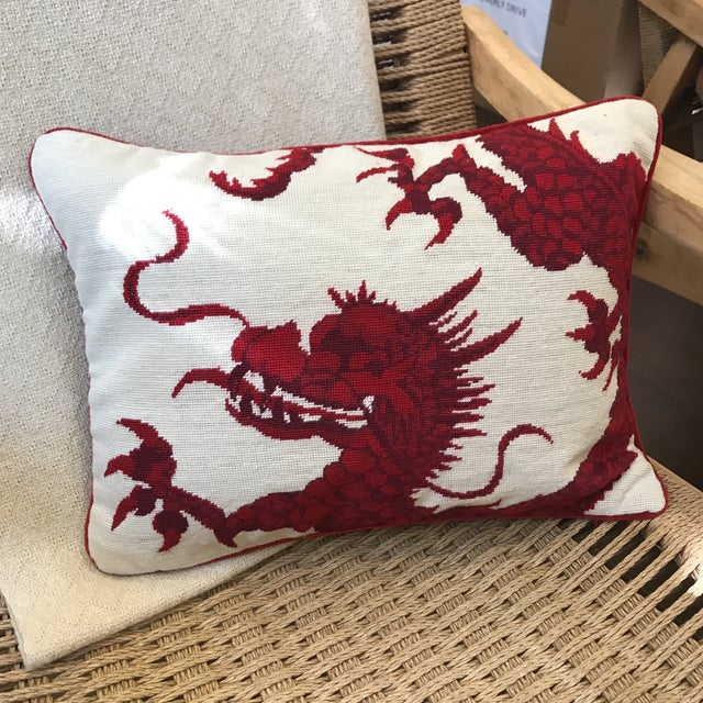 Williams Sonoma Dragon Needlepoint Pillow - Image 2 of 6