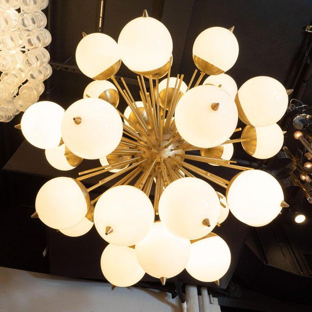 Modernist Hand Blown Murano Frosted Glass and Brushed Brass Sputnik Chandelier For Sale In New York - Image 6 of 9