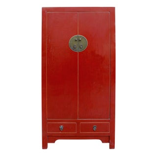 Chinese Distressed Red Storage Cabinet