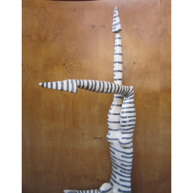 """Original Studio Art Postmodern Ceramic """"Acrobat"""" Figural Blue Striped Biomorphic Form Sculpture by Jack Charney For Sale In Chicago - Image 6 of 13"""