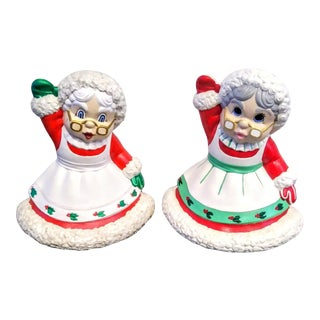A Pair Vintage Ceramic Christmas Grannies Mrs Clause Red White Statues For Sale