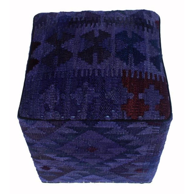 Arshs Delta Purple/Drk. Gray Kilim Upholstered Handmade Ottoman For Sale - Image 4 of 8