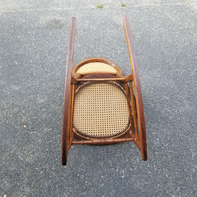 Vintage Cane Sewing Rocking Chair Children's Chair For Sale In Richmond - Image 6 of 8