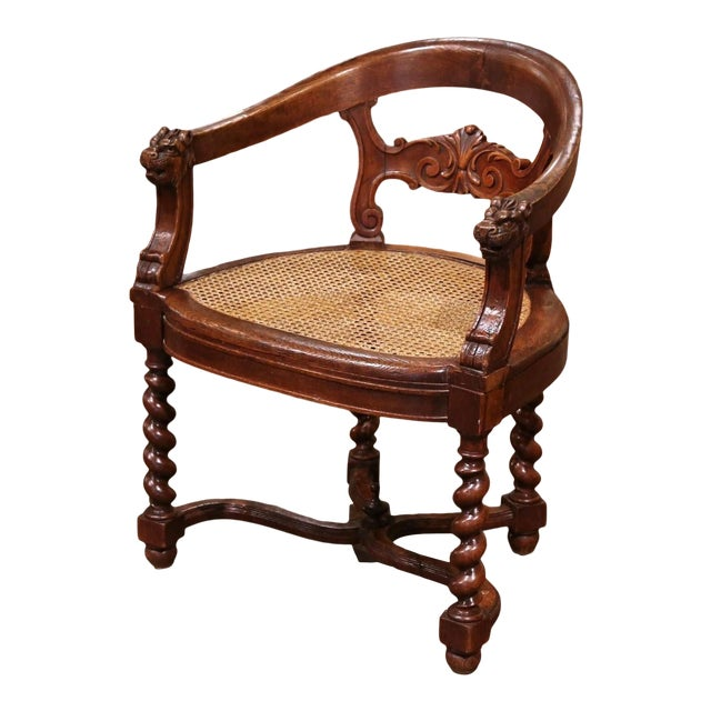 19th Century French Louis XIII Carved Oak Barley Twist and Caning Desk Armchair For Sale