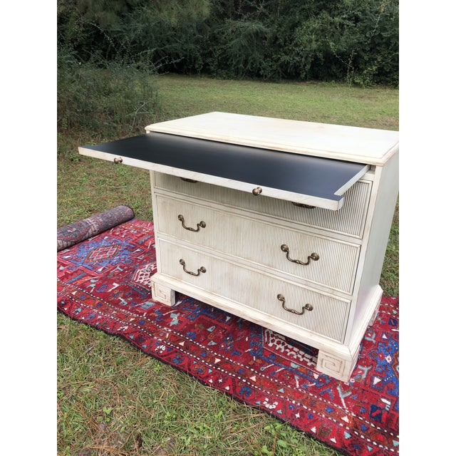 2010s Hickory White Chest With Flutted Drawers and Greek Key Legs For Sale - Image 5 of 13