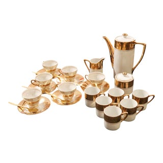 """Sterling China"" Co. Singed Tea/Coffee Porcelain Serving Set With Gold Leaf Finish - 21 Piece Set For Sale"