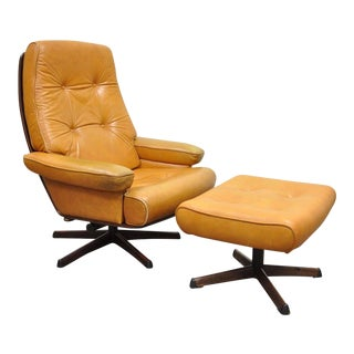 Gote Mobler Nassjo Mid Century Modern Caramel Leather Lounge Chair & Ottoman Vintage For Sale