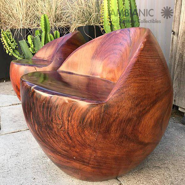 Wood Mid Century Modern Nakashima Style Pair Of Studio Solid Rosewood Chairs  For Sale