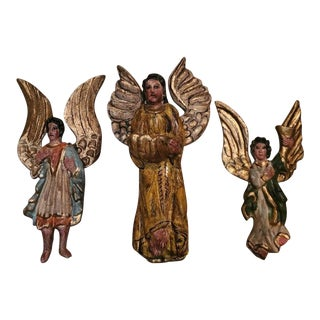 19th Century Spanish Colonial Carved Religious Folk Art Angels For Sale