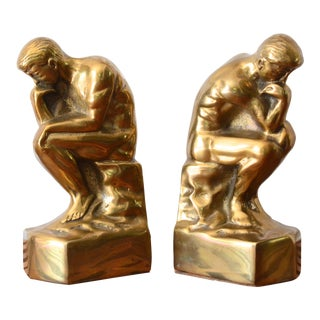 Vintage Brass Thinker Bookends - a Pair For Sale