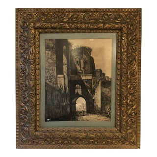 French Scene Ink Drawing in Antique Frame