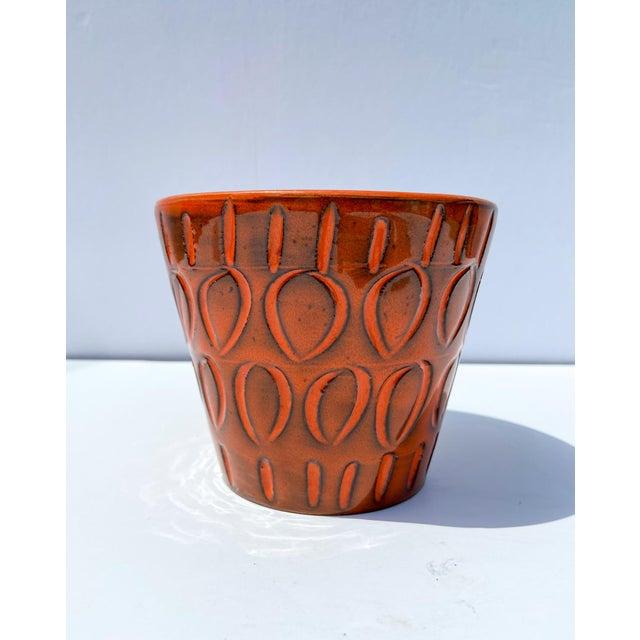 Italian Orange Mid-Century Ceramic Planter For Sale - Image 9 of 9