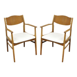 Pair of Young Mfg Mid Century Danish Modern Walnut Teak Curved Dining Arm Chairs For Sale