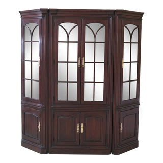 Traditional Statton 3-Piece Solid Cherry Lighted Wall Unit For Sale