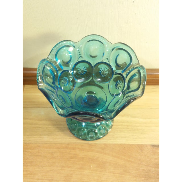 "L.E. Smith ""Moon and Stars"" Pattern Blue Glass Footed Compote Dish - Image 3 of 5"