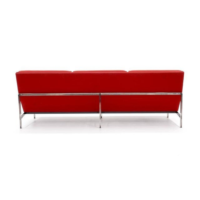 Knoll Florence Knoll Parallel Bar Three-Seat Armless Sofa Red Wool Fabric For Sale - Image 4 of 8