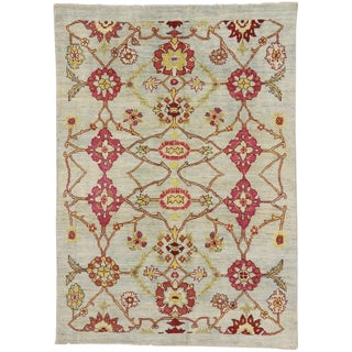 Turkish Oushak Area Rug With Geometric Design For Sale