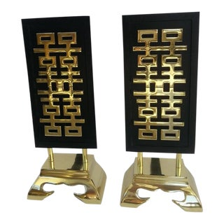 James Mont Fireplace Andirons Brass and Black For Sale